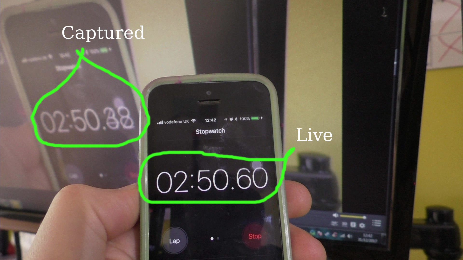 image of phone stop watch app and the captured feed. Showing Windows 7 latency is around 200ms